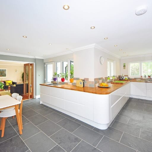 Moder-kitchen-with-new-floor-tiles-and-plastered-ceiling-by-our-tiler